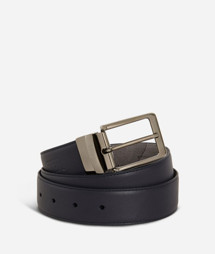 Men's belt leather blue,front