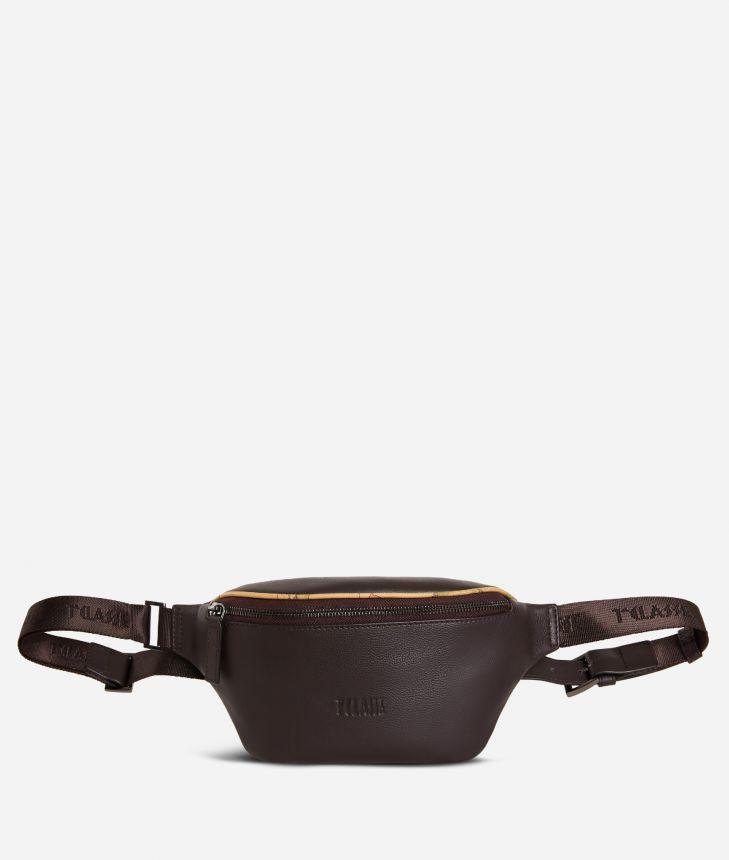 Belt bag leather brown,front