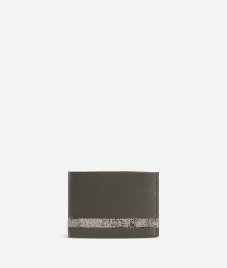 Small leather wallet Geo Dark fabric trims,front