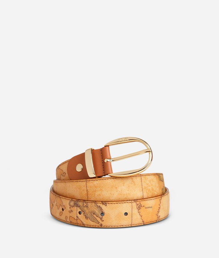 Geo Classic Belt with leather inserts,front