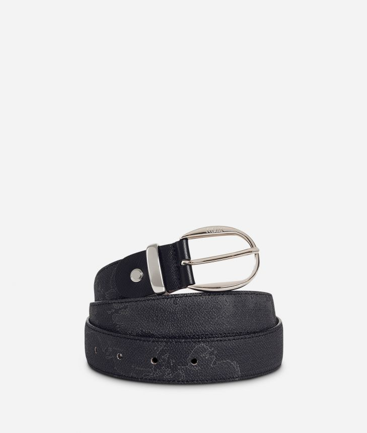 Geo Black Belt with leather inserts,front