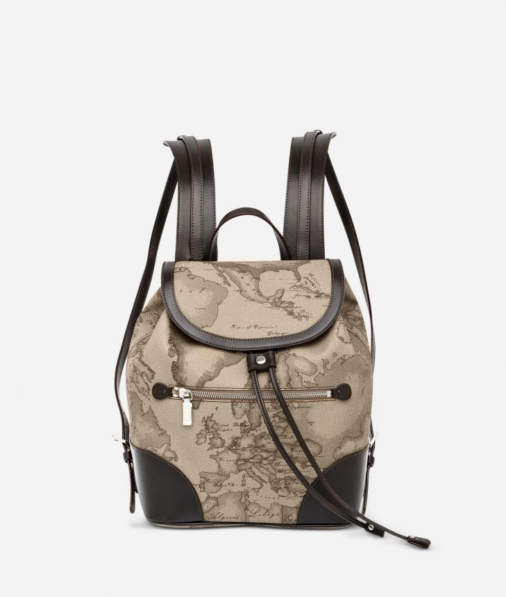 Geo Tortora Backpack with leather corners,front