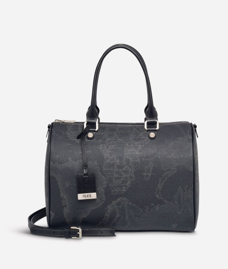 Geo Black Medium Boston bag,front