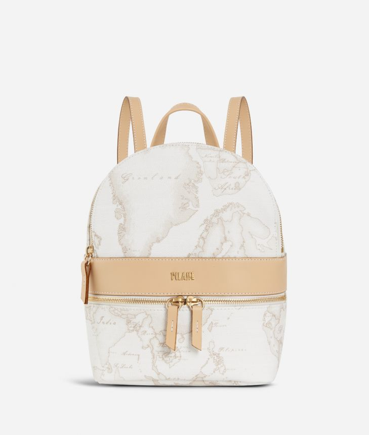 Geo White Backpack,front