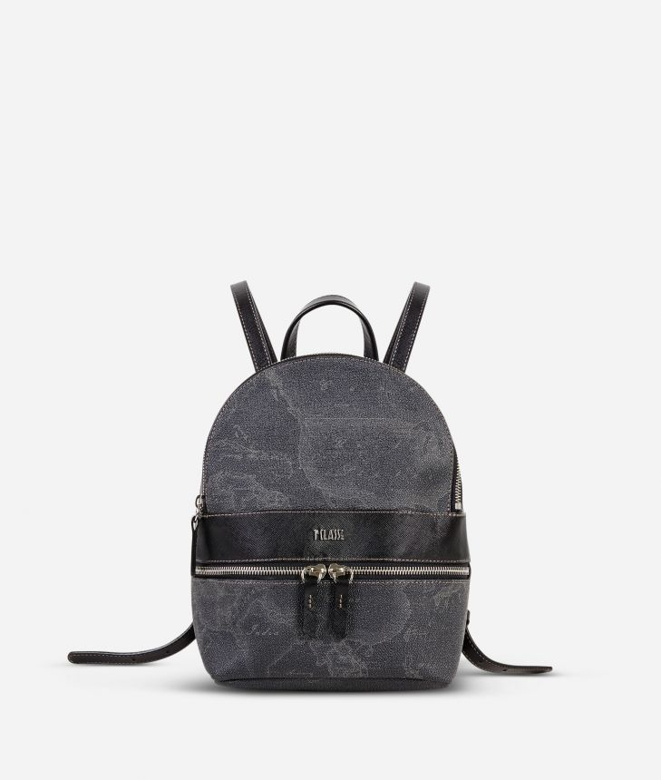 Geo Black Small backpack with logo,front