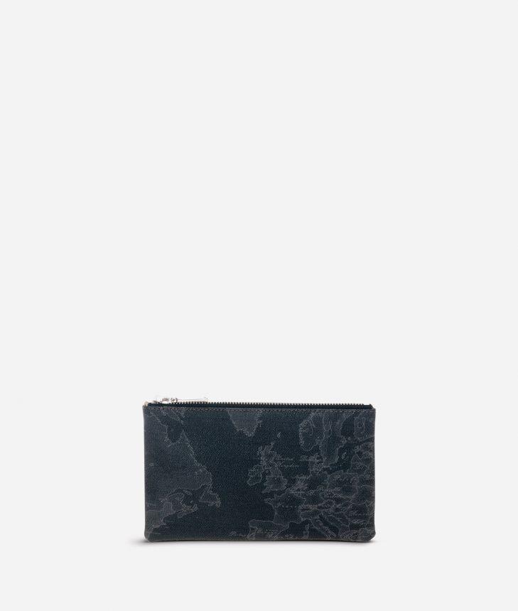Geo Black Medium rectangular pouch,front