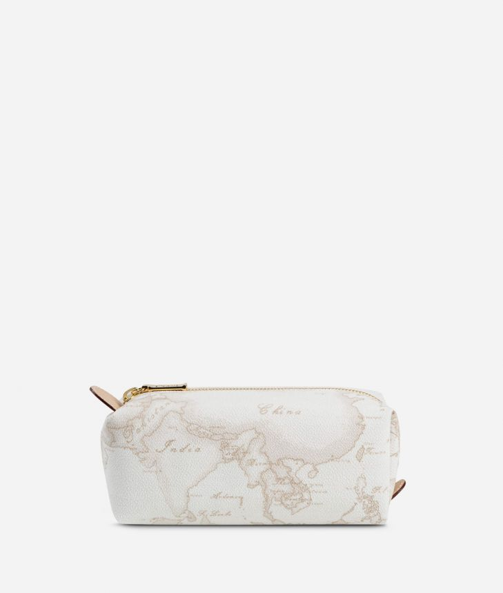 Geo White Zipped envelope pouch,front