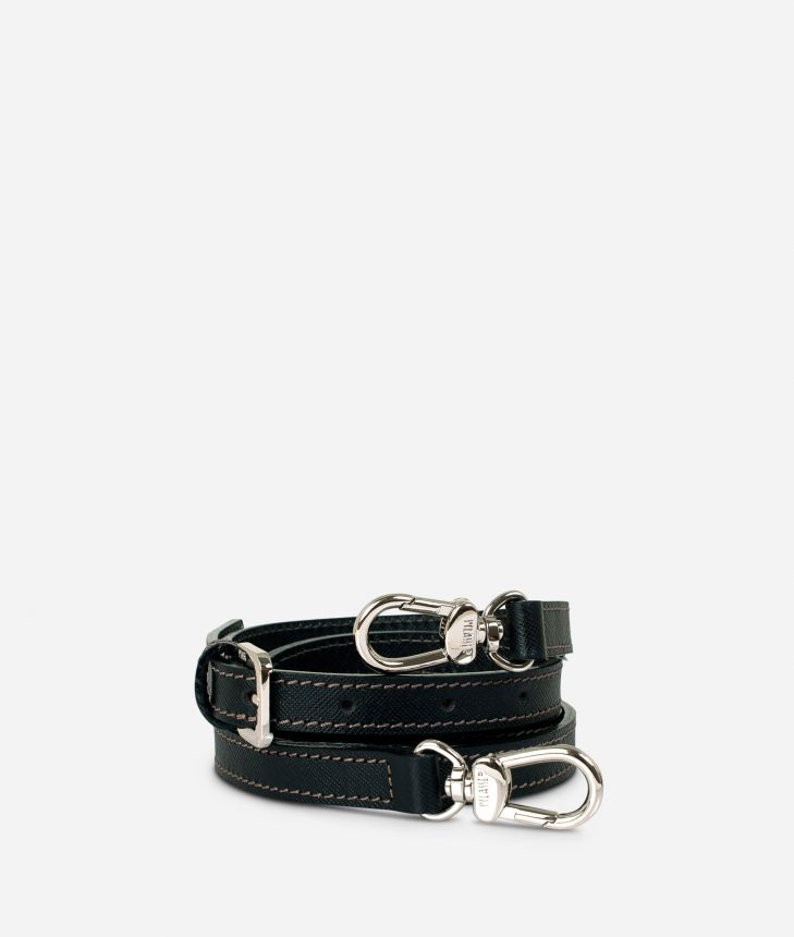 Adjustable strap in black leather,front