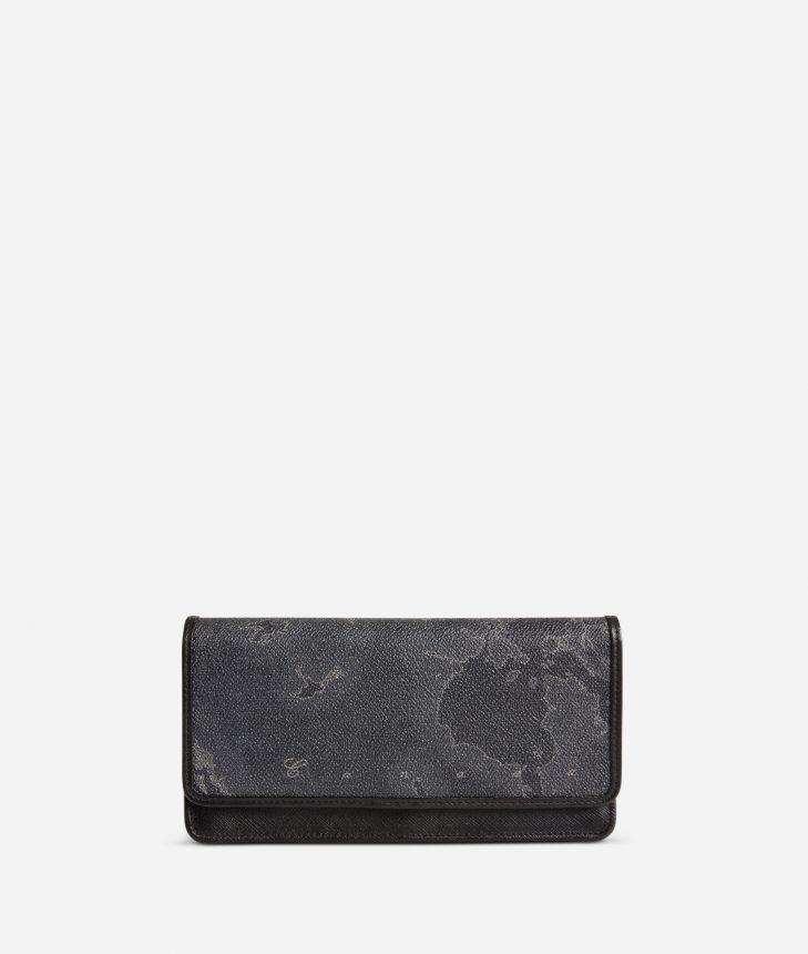 Geo Black Large wallet with pocket,front