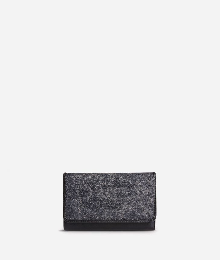 Geo Black Small wallet with pocket,front