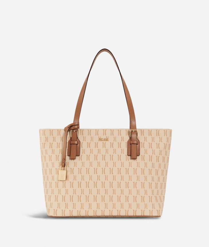 Monogram Medium Shopping Bag Cream,front