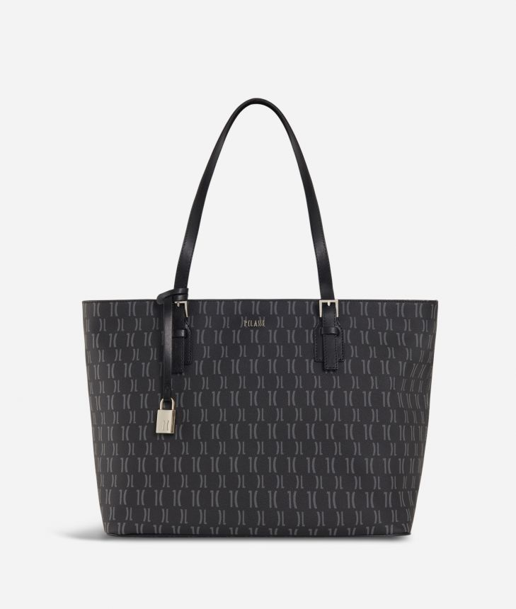 Monogram Big Shopping Bag Black,front