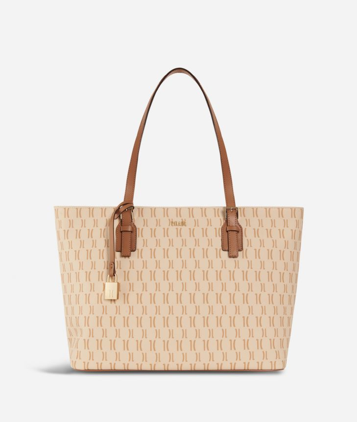 Monogram Big Shopping Bag Cream,front