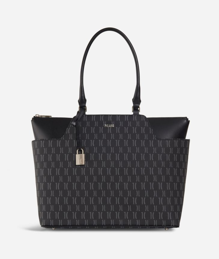 Monogram Shopping Bag with pockets Black,front