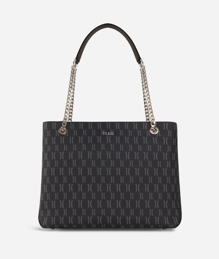 Monogram Shoulder bag with chain Black,front