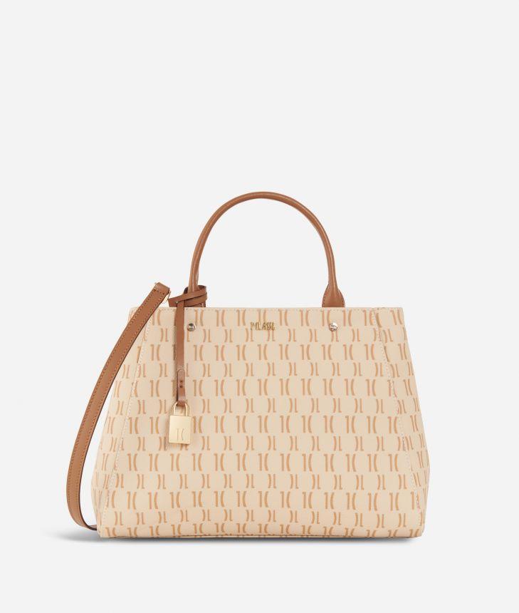 Monogram Medium Handbag Cream,front