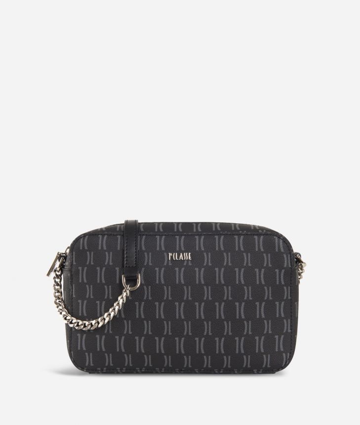 Monogram Report Crossbody Bag Black,front