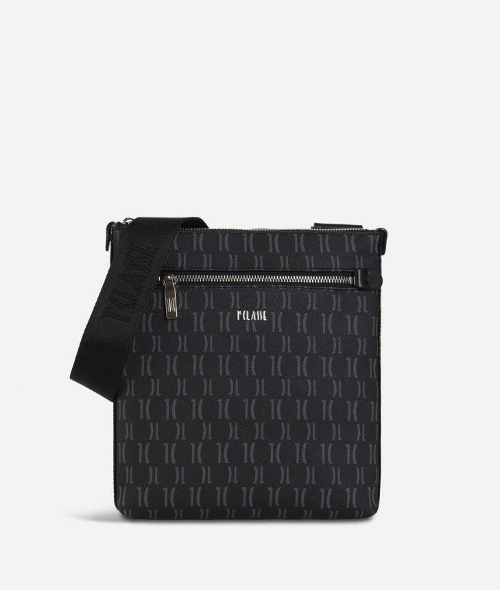 Monogram Flat Crossbody Bag Black,front