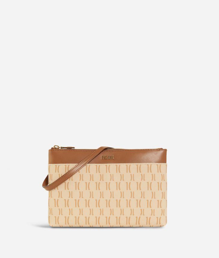 Monogram Small Crossbody Bag Cream,front