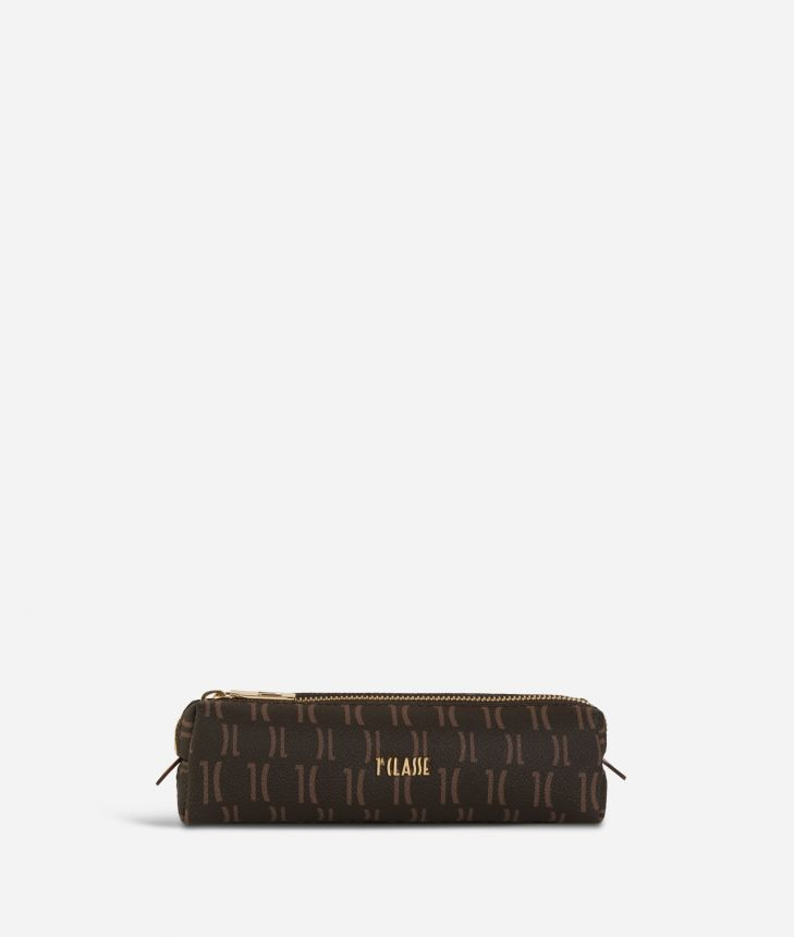 Monogram Pencil Case Dark Buff,front