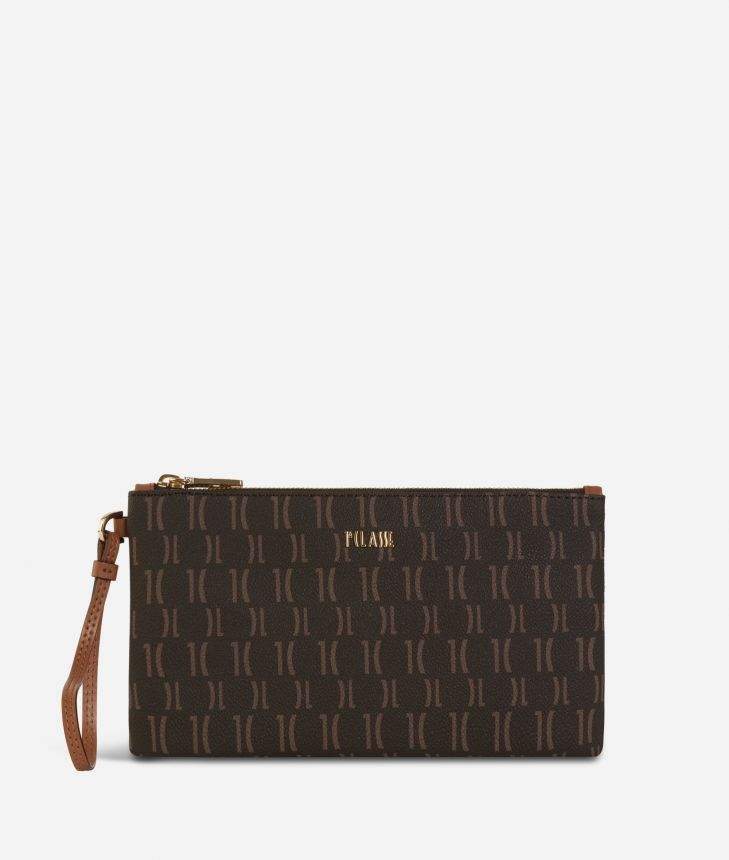 Monogram Clutch with wristband Dark Buff,front