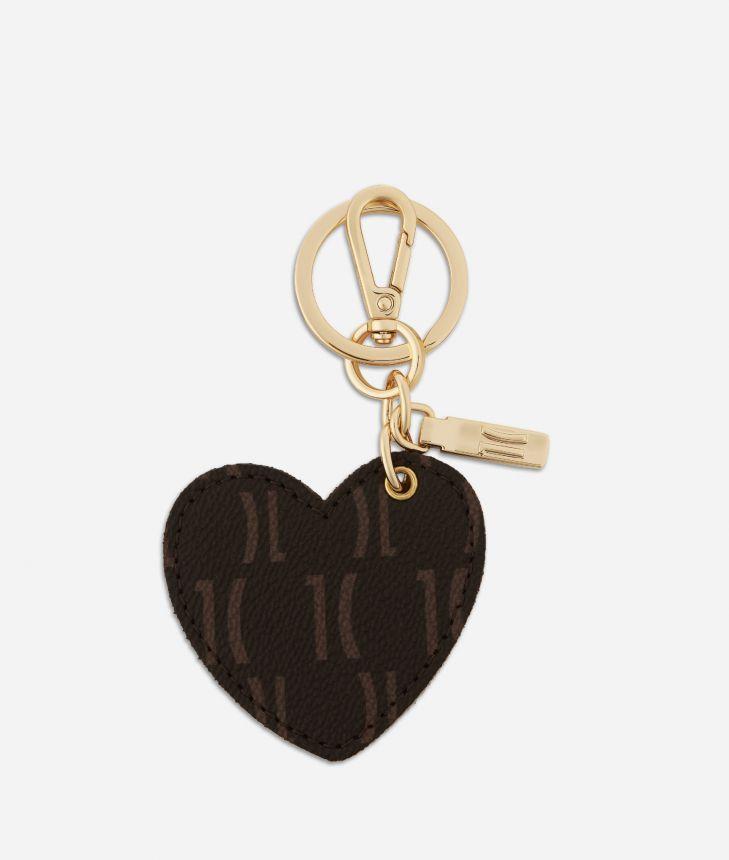 Monogram Heart-shaped Keyring Dark Buff,front