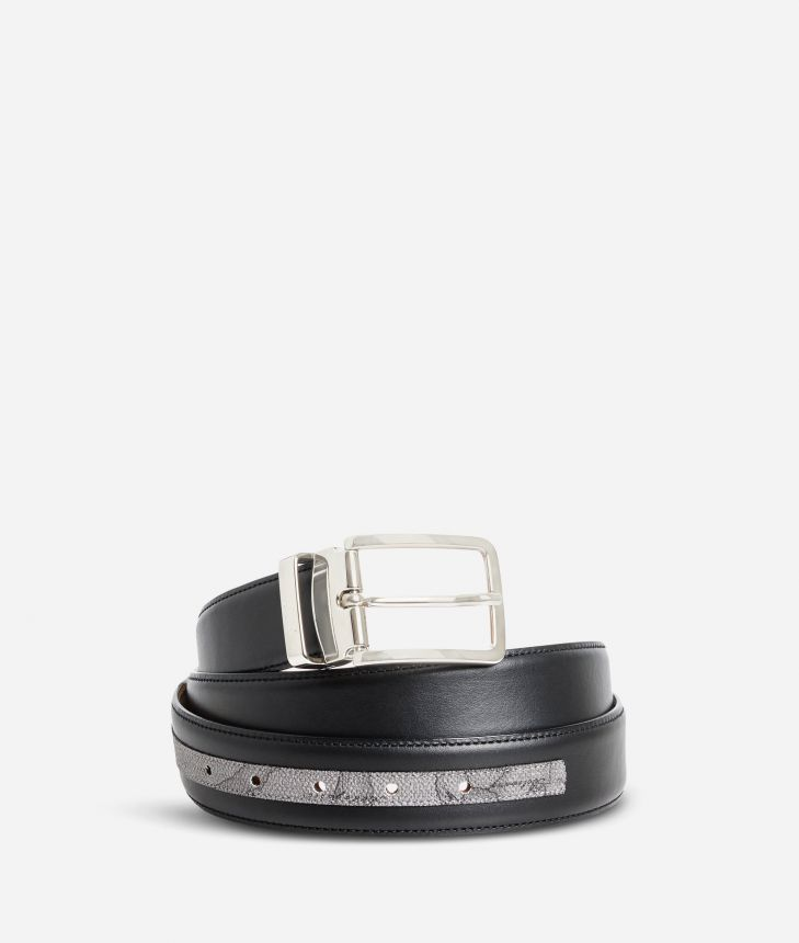Dark Mood leather belt trimmed in Geo Dark fabric,front