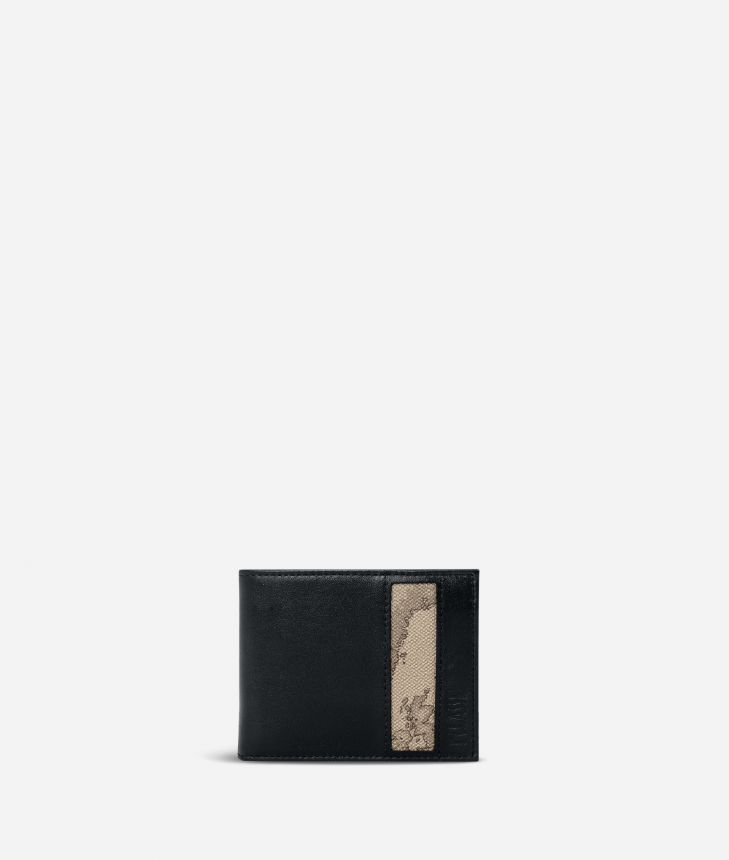 Small leather wallet Geo Tortora fabric trims,front