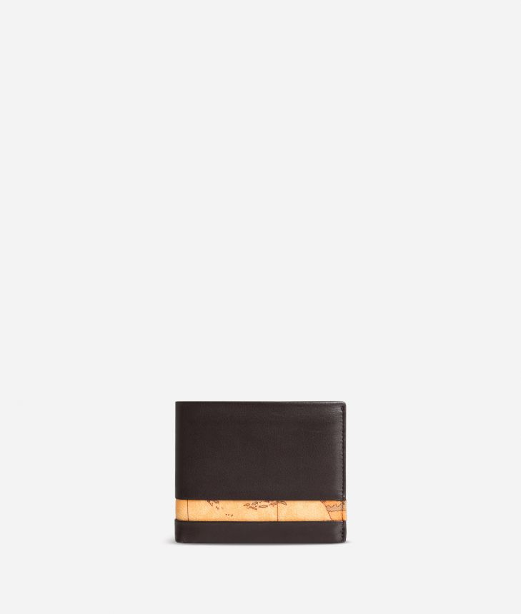 Medium leather wallet Geo Classic fabric trims,front