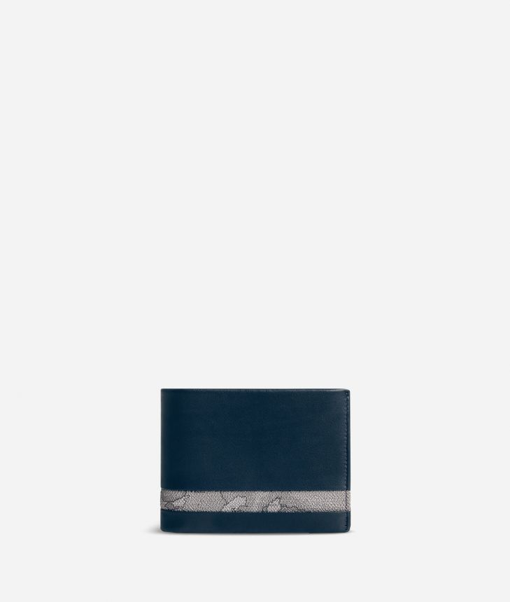 Medium leather wallet Geo Dark fabric trims,front