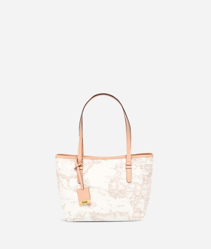 Geo White Small shopping bag,front