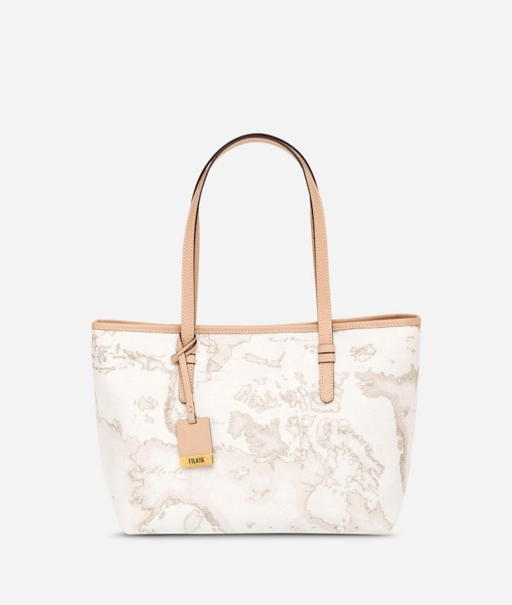 Geo White Medium shopping bag,front