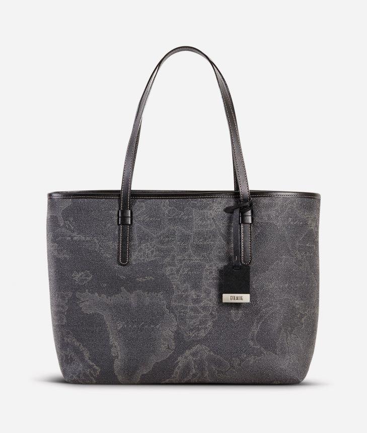 Geo Black Large shopping bag,front