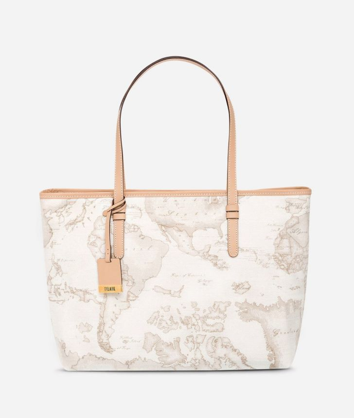 Geo White Large shopping bag,front