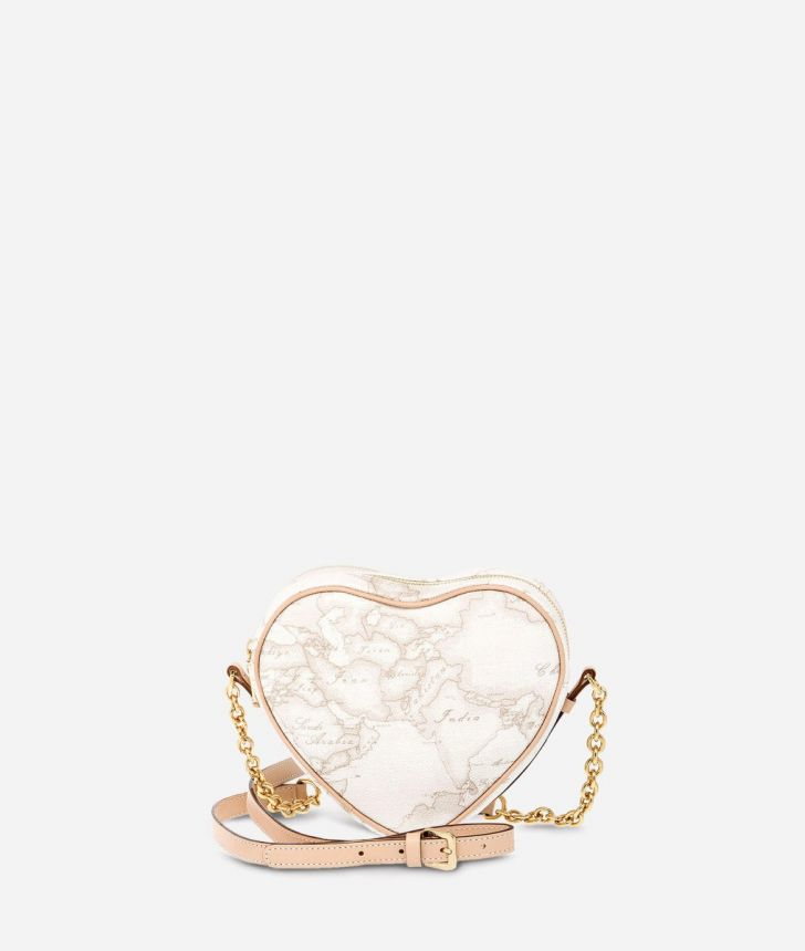 Geo White Heart mini crossbody bag,front