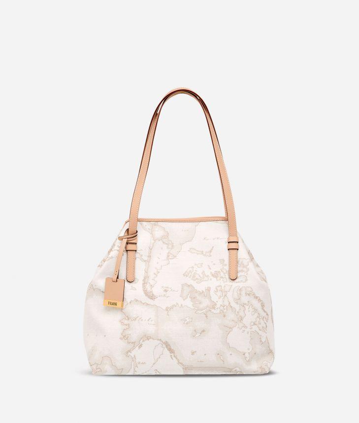 Geo White Medium shoulder bag,front