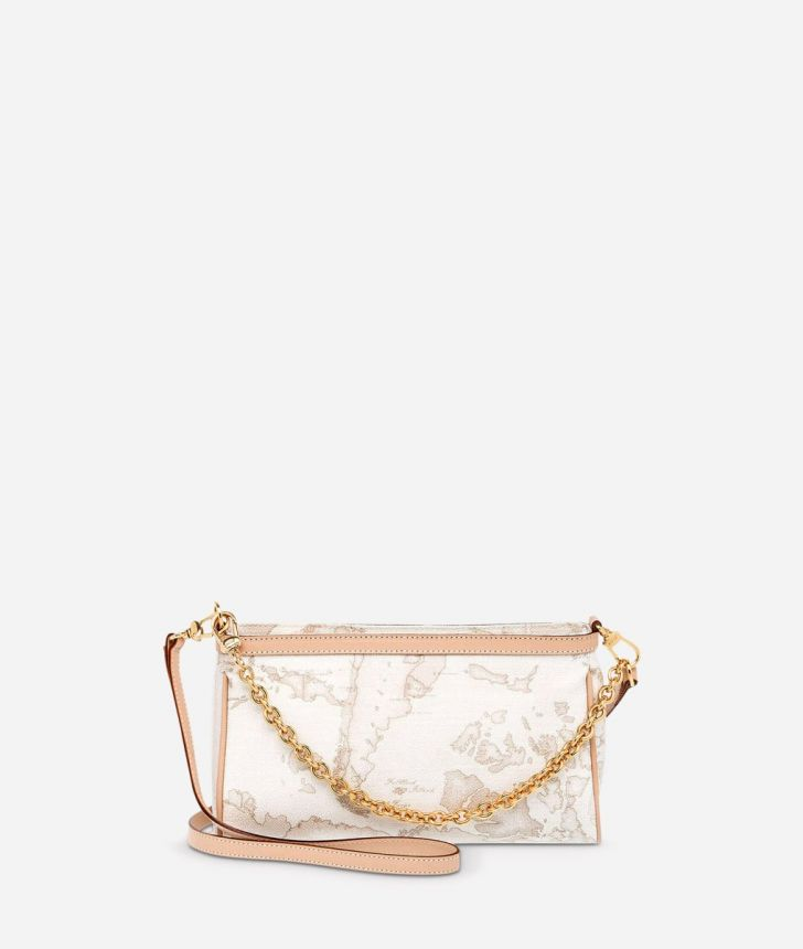Geo White Mini crossbody bag,front