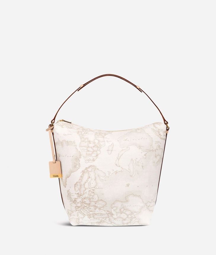 Geo White Medium shoulder bag,front
