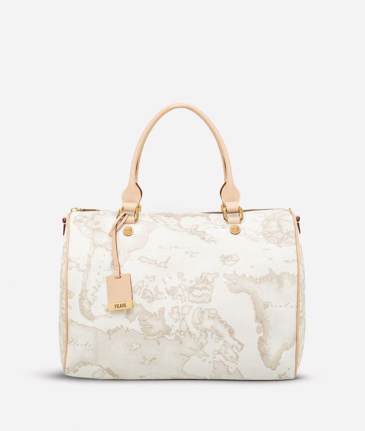 Geo White Large Boston bag,front
