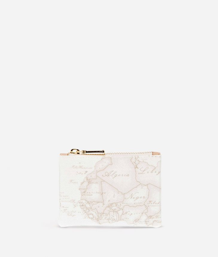 Geo White Rectangular pouch,front