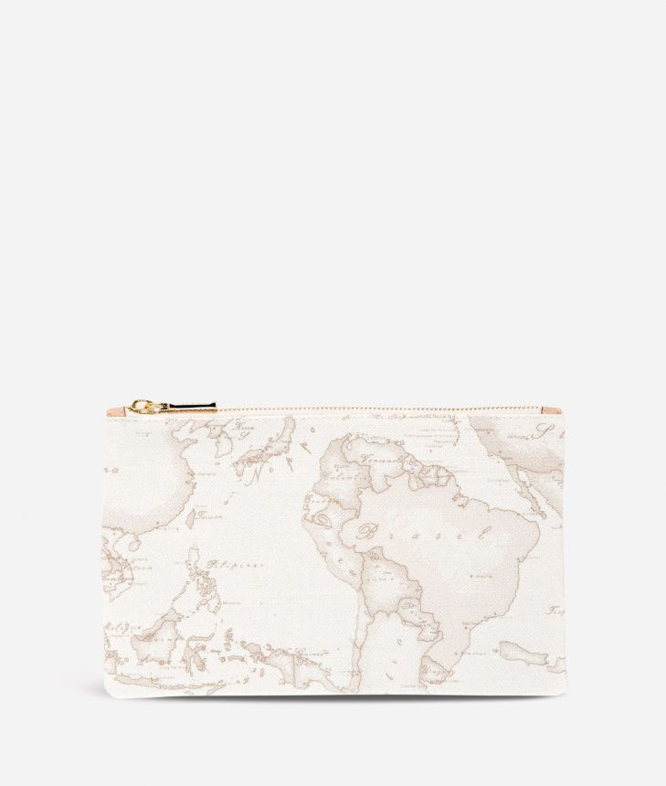 Geo White Envelope Clutch Bag,front