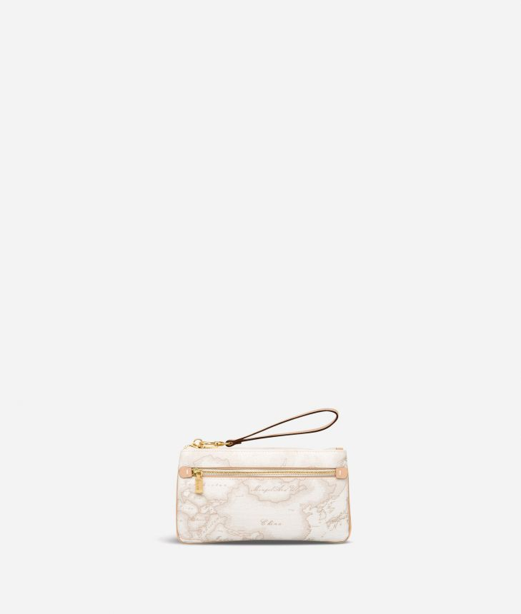 Geo White Large pouch with wristlet,front