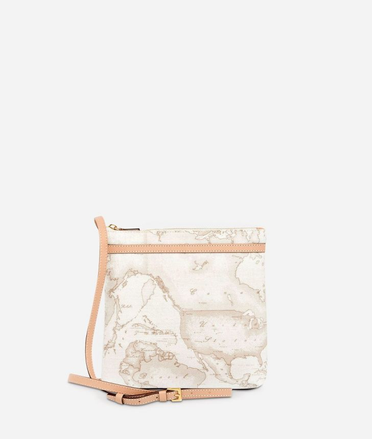 Geo White Large crossbody bag,front