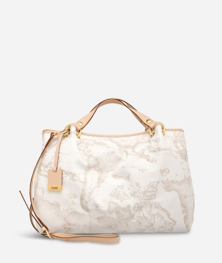 Geo White Large handbag,front
