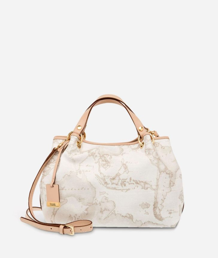 Geo White Medium handbag,front