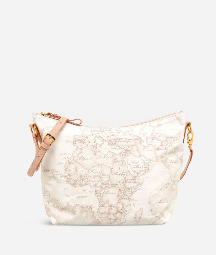 Geo Soft White Medium crossbody bag,front
