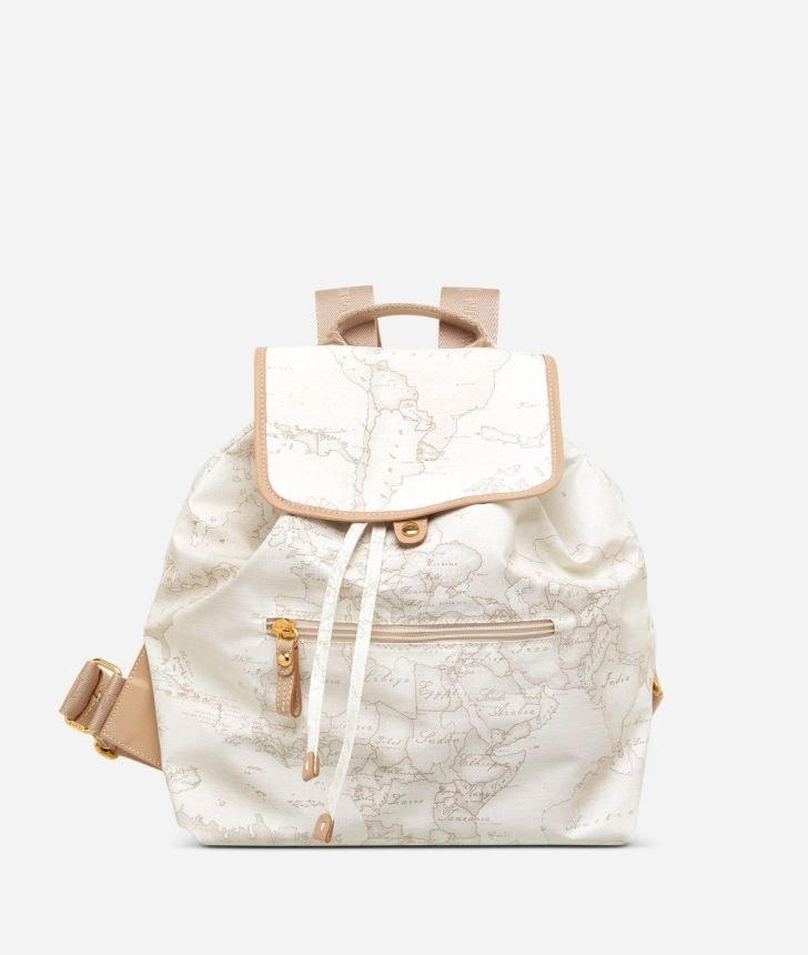 Geo Soft White Backpack with front pocket,front