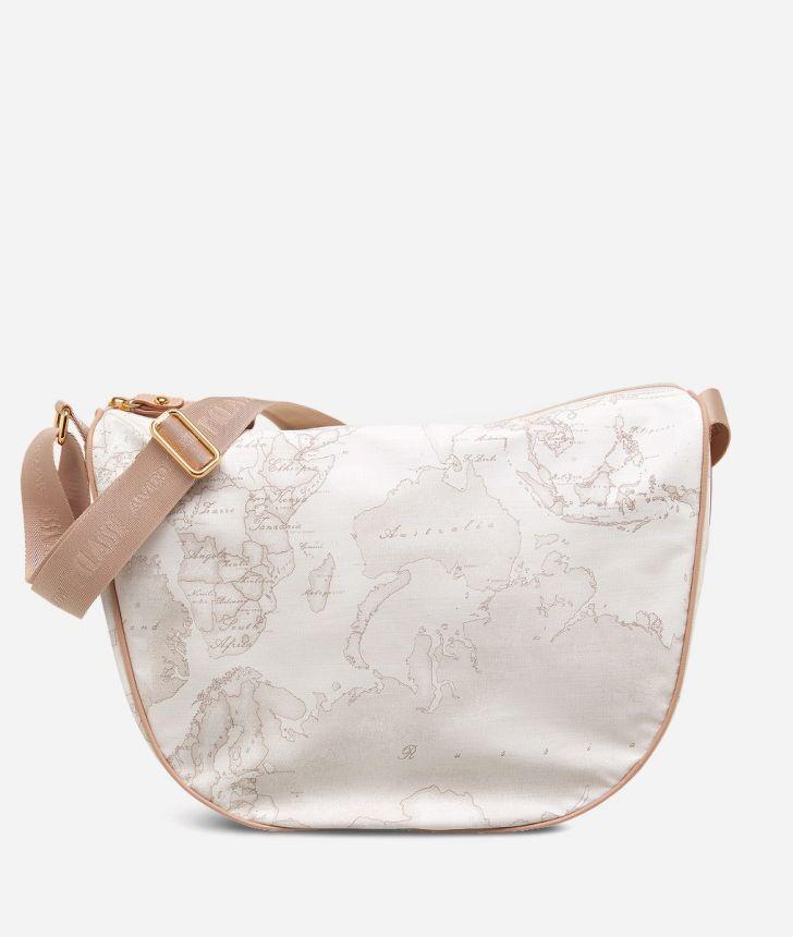 Geo Soft White Medium half-moon handbag,front