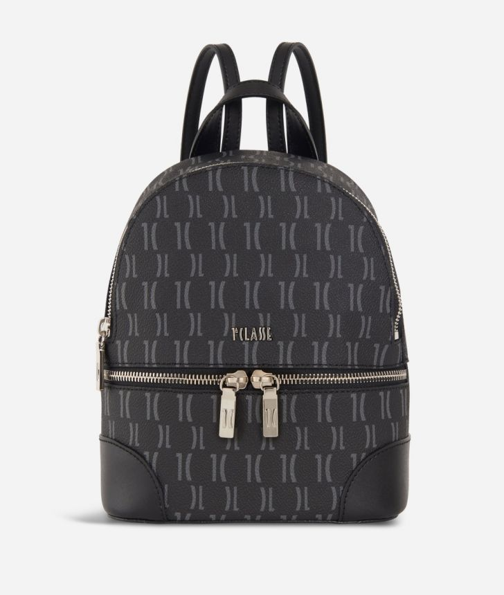 Monogram Medium Backpack Black,front
