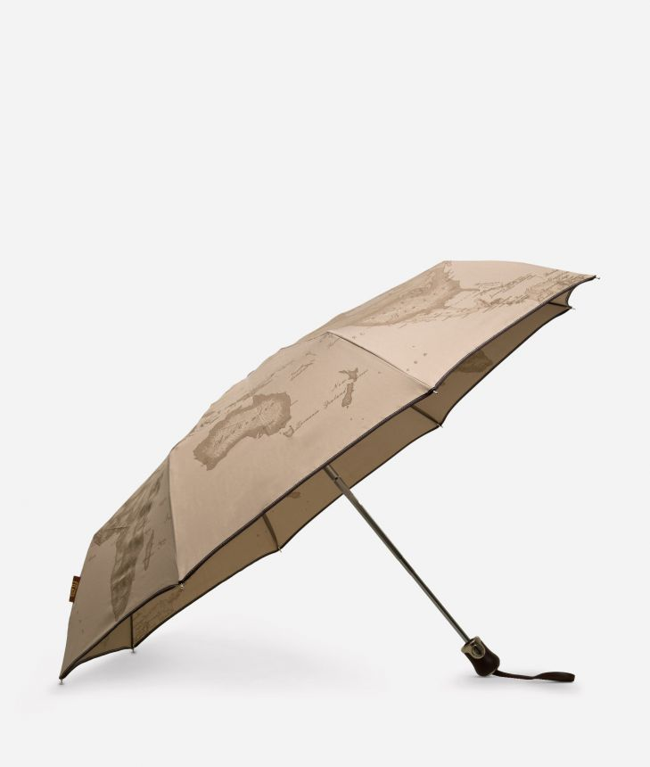 Open/close umbrella in printed Geo Tortora fabric,front